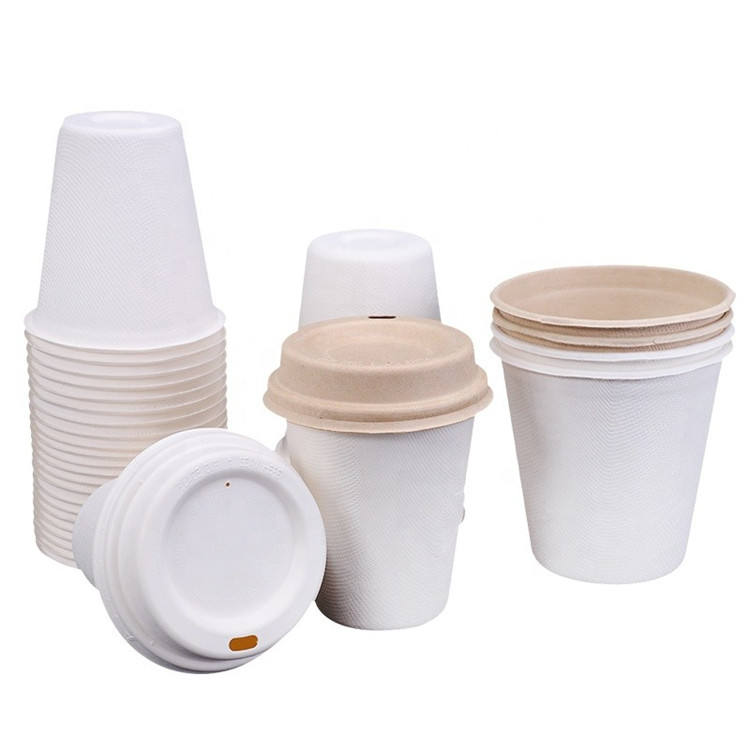Wholesale 100% Biodegradable Compostable Bagasse White Sugarcane Soup Cup Souffle Reusable Pulp Sauce Cups Base Paper With Lid