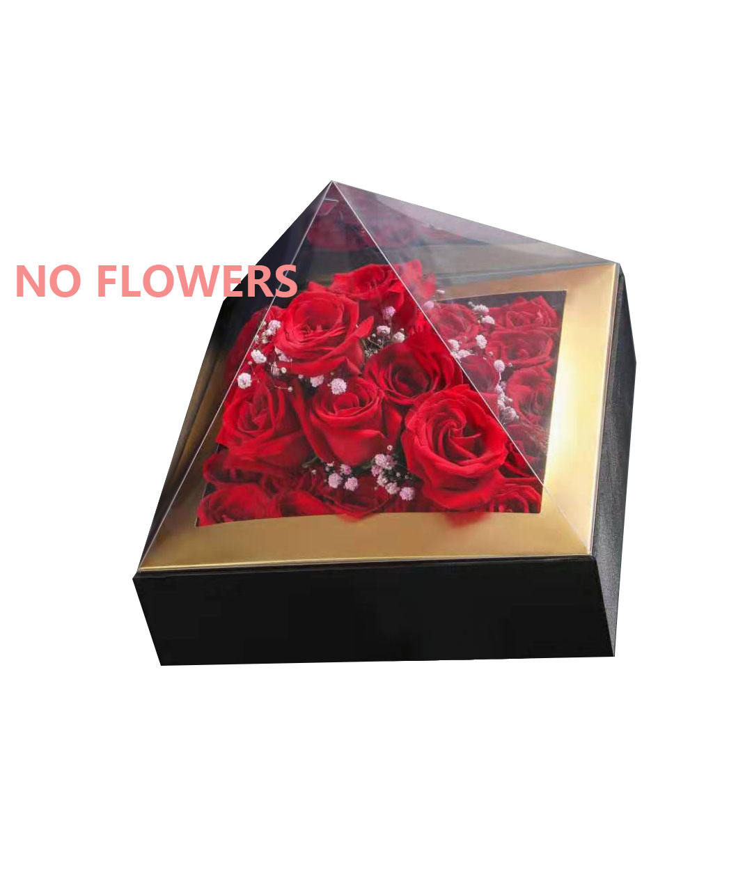 Luxury Pyramid Box Hand Held Packaging Acrylic Transparent High-end Flower Box Gift Box
