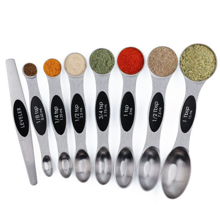 Amazon Hot sale 8pcs Stackable Stainless Steel Magnetic Measuring Spoon Set with lever