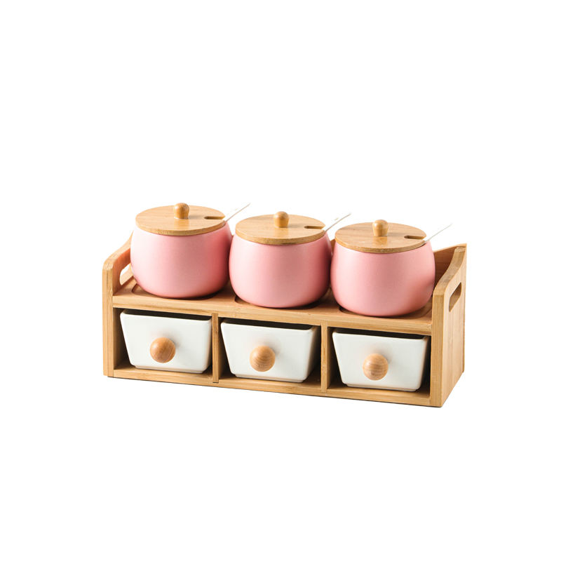 Graceful matte glaze nordic style home used kitchenware ceramic condiment jar spice set with wooded stand