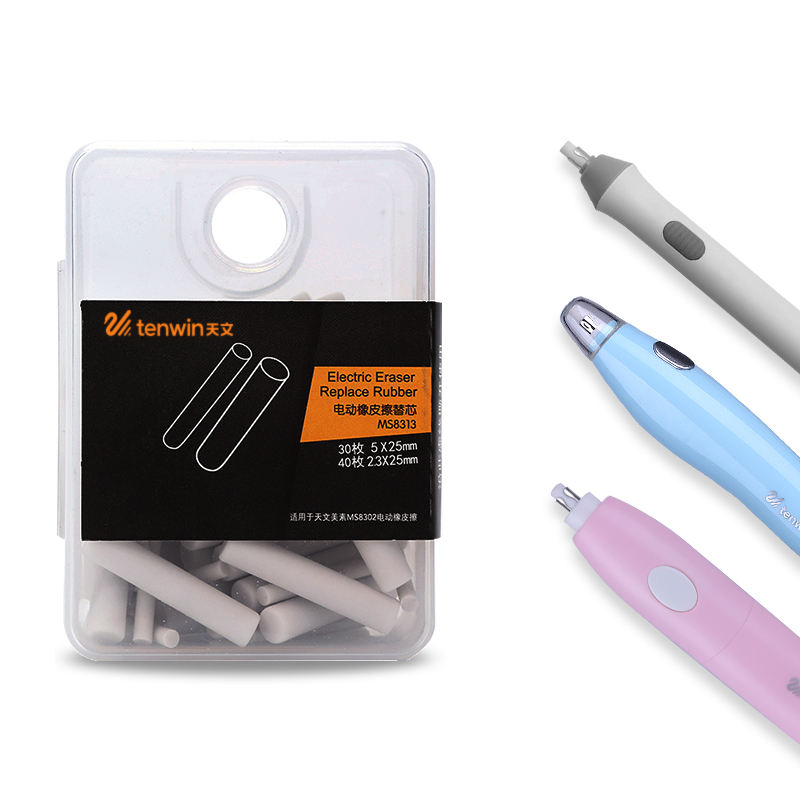 Tenwin 8313 Rubber Eraser Refills In Size d5 x 2.5mm And d2.3x25mm For Electric Battery Eraser Model In Artist School