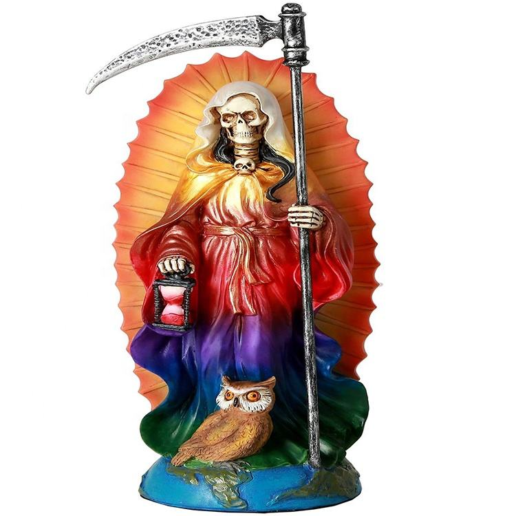 Santa Muerte Resin Saint of Holy Death Resin Standing Religious Statue, Rainbow Santisima Muert Sculpture
