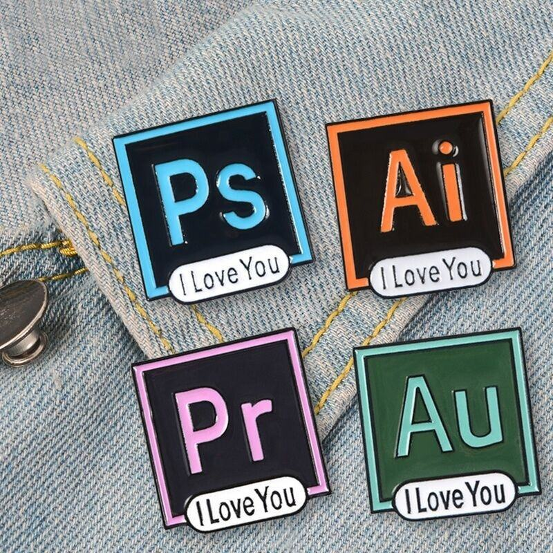 photoshop PS Pr badge adobe illustrator Ai Au enamel lapel pin pins available stock accept order directly