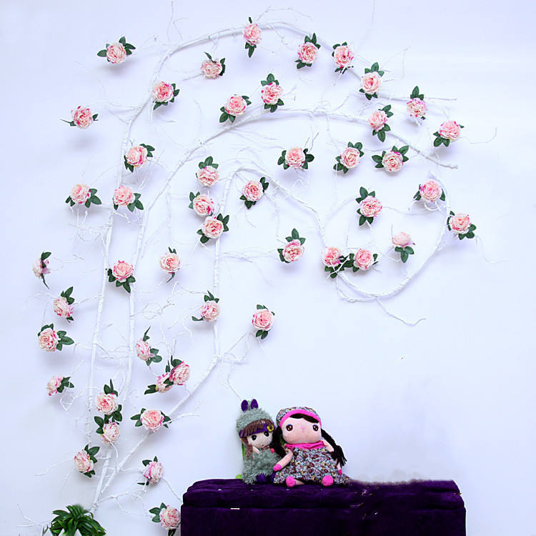 S02193 New design hanging artificial flower roses on a vine decoration artificial hanging vine for wall decoration hanging flowe