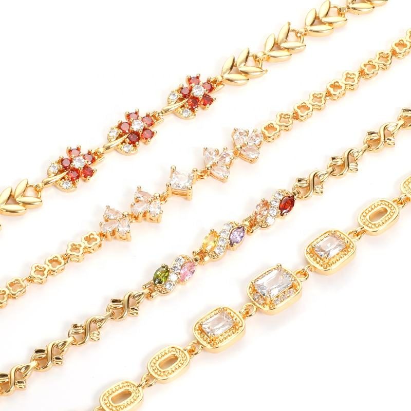 China New Designs ladies charm bracelet 14K 18k gold plated women bracelet cz diamond bracelet for girls