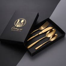 18/10 Stainless Steel Plated Wedding Flatware Modern Metal Silver Golden Plating Rose Gold Copper Cutlery Set with gift box