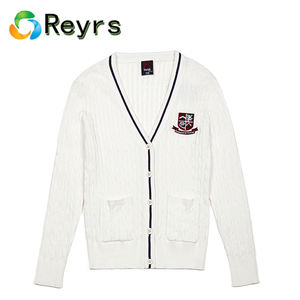 Reyrs Made Winter Japanese School Uniform 100% Combed Cotton White Cardigans Sweaters for Girls Teenagers