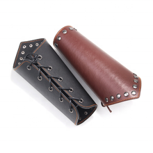 Punk Wide Archery Leather Arm Guard Cuff Viking Bracer Leather Gauntlet Wristband Bracelet leather wrist
