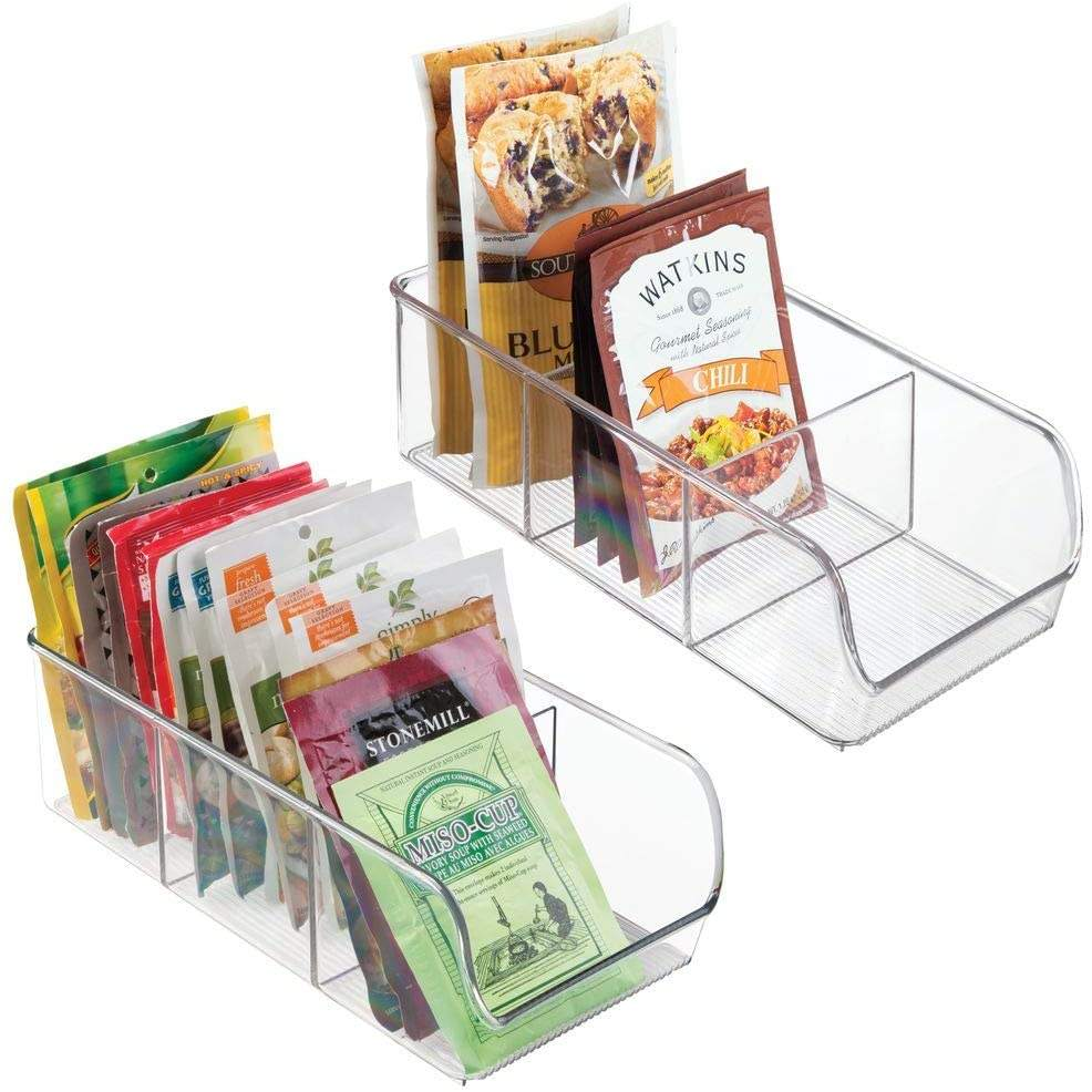 2 Pack Clear Plastic Food Packet Kitchen Storage Organizer stackable fridge storage bin organizer