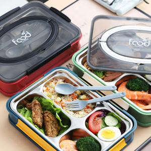 Stainless steel insulated lunch box compartments office worker bento box large capacity sealed non-serial student food container