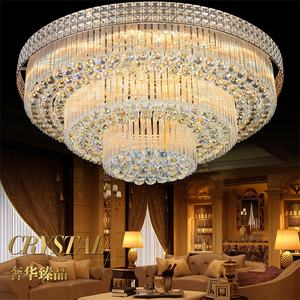 Modern decorative fixtures large round flush indoor lamp crystal led ceiling light for living room