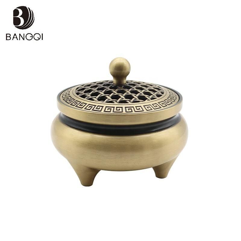 Color cobre antiguo quemador de incienso de sándalo incensario