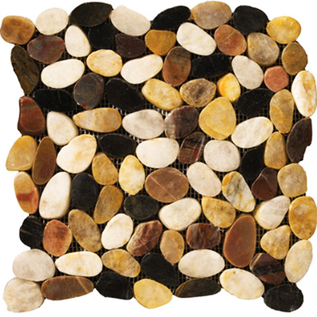 wholesale colored polished pebble stone tile for home decoration