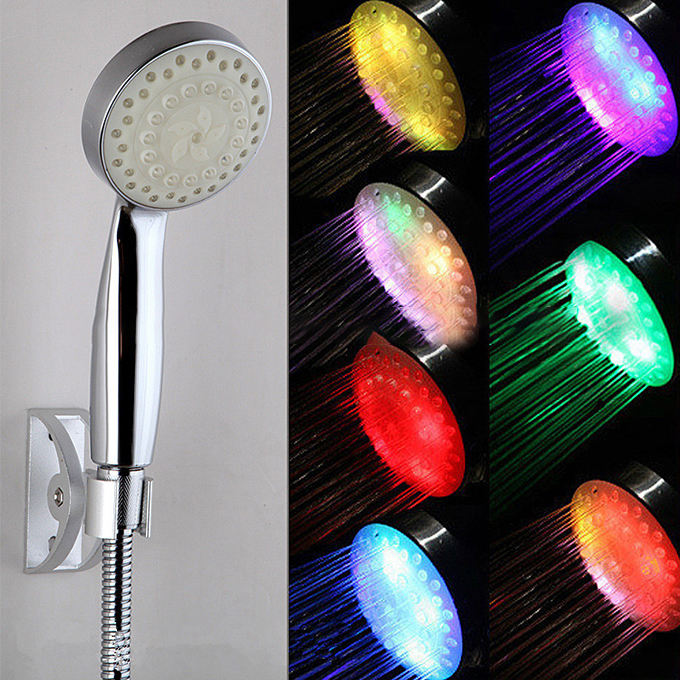 Unique products from china LED 7 colors hand held shower head heated plastic better bathroom shower head