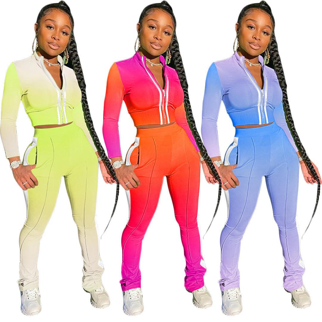 gradient color women's sports junior clothing sets zipper stand-up collar long sleeve 2 piece pants set women clothing