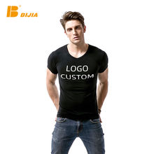 Wholesale casual t-shirt short sleeve v neck black plain t shirts for men