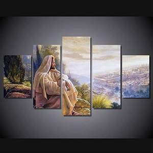 Jesus Wall Art Picture Decor 5 Panel Christian Faith Canvas Prints Poster Jesus Thorn Painting for Living Room Decor