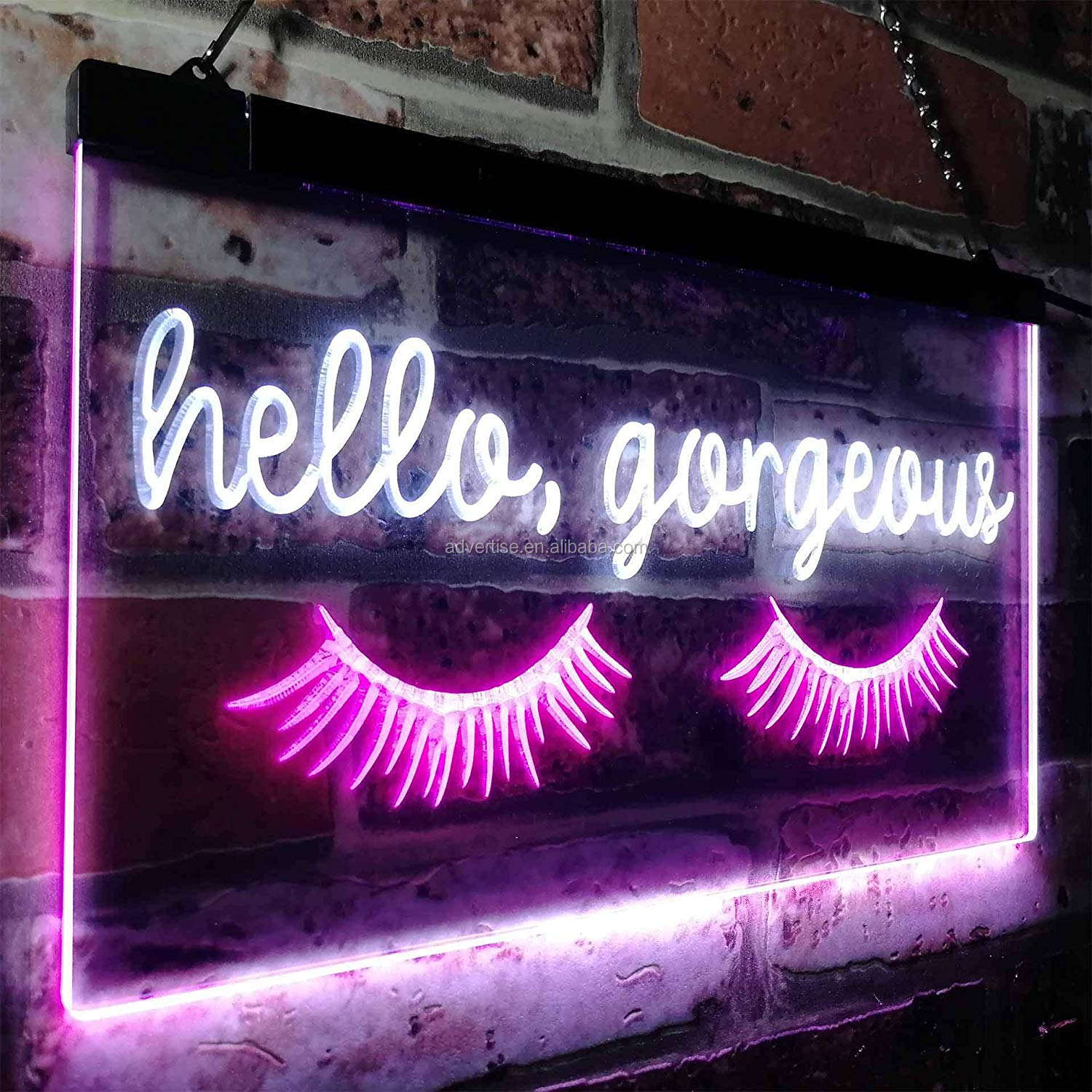 for Christmas birthday parties wedding Eyelash Room Display Dual Color LED Neon Sign White & Purple hello gorgeous neon sign