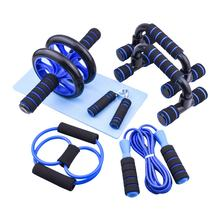 Abdominal Core Exercise AB Wheel Roller Set with Handgrip Pullers Jump Rope and Knee Pad for Abs