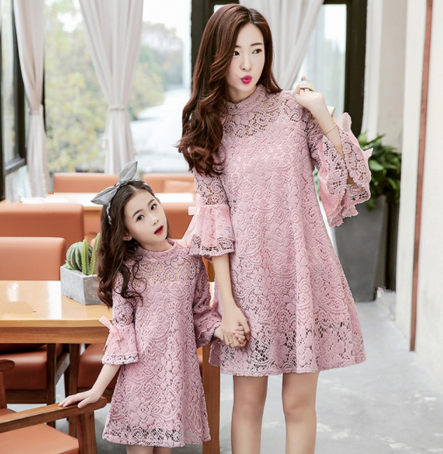 cy10482a high quality mom and daughter dress lace embroidery princess tutu dress