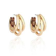 High Quality Hypoallergenic 18k Gold Geometric Triple Pipe C Shape Round Hoop Earrings Metal Semicircle Hoop Earrings