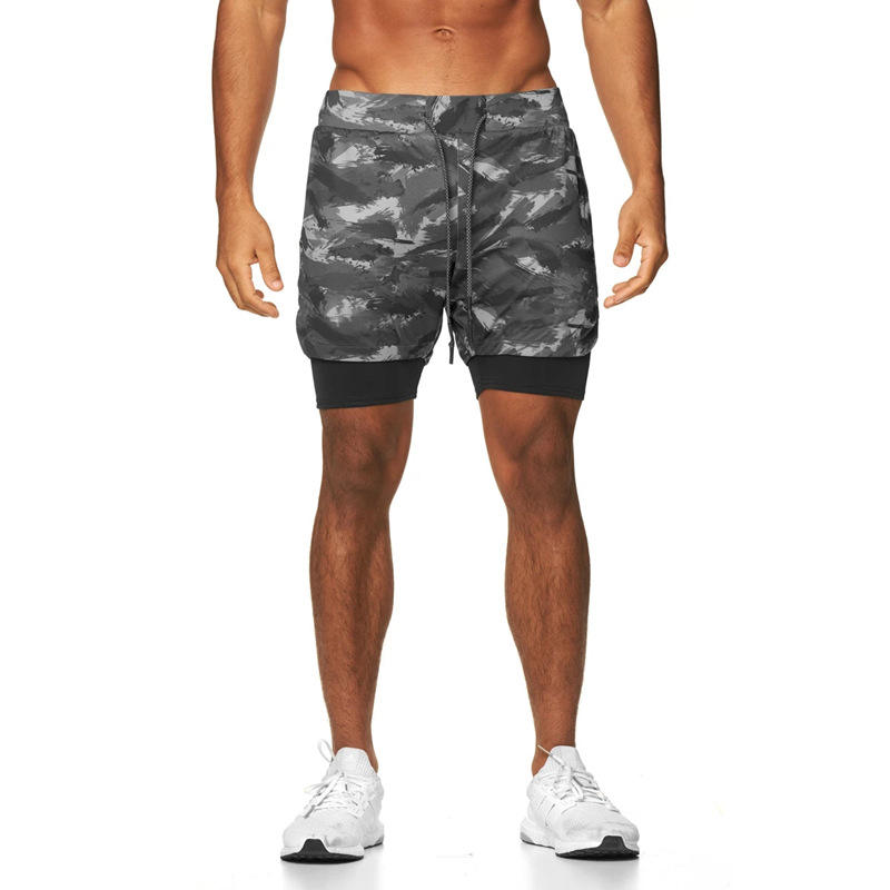 Mens 3 In 1 Fitness Running Shorts Men Sports Shorts Camouflage Quick Drying Training Gym Sport Shorts Joggers Short Pants