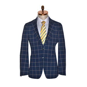 Pria blue suit Jaket single-breasted 2 tombol kain wol