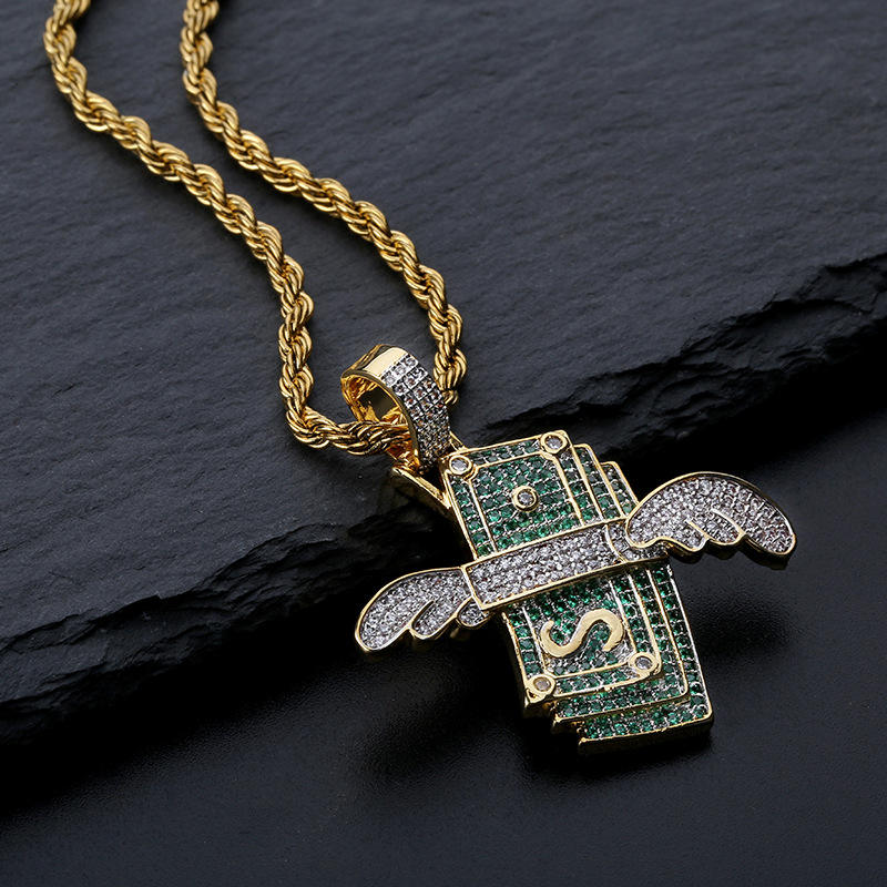 MJ Jewelry Hip hop Unique Flying Money with Wing Ice out Necklace Pendant