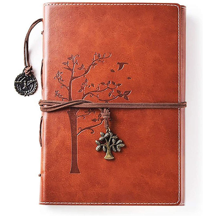 Daily Use Gifts Vintage Tree of Life Leather Cover Notebook Refillable Writing Journal for Bloggers Teachers Students