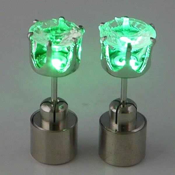 Shenzhen factory Magic LED flashing earrings high quality copper material with built-in button battery glow stud earring