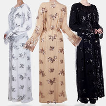 Zakiyyah L212 Islamic Clothing Luxury Sequin Muslim Dress Lace Embroidery Kimono Open Abaya Long Sleeves For Women