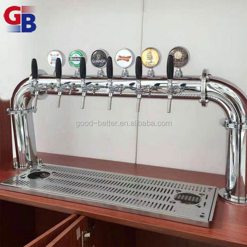 BTNO.1010088 Hot selling stainless steel silver color U model 6 taps draft beer dispenser with drip tray