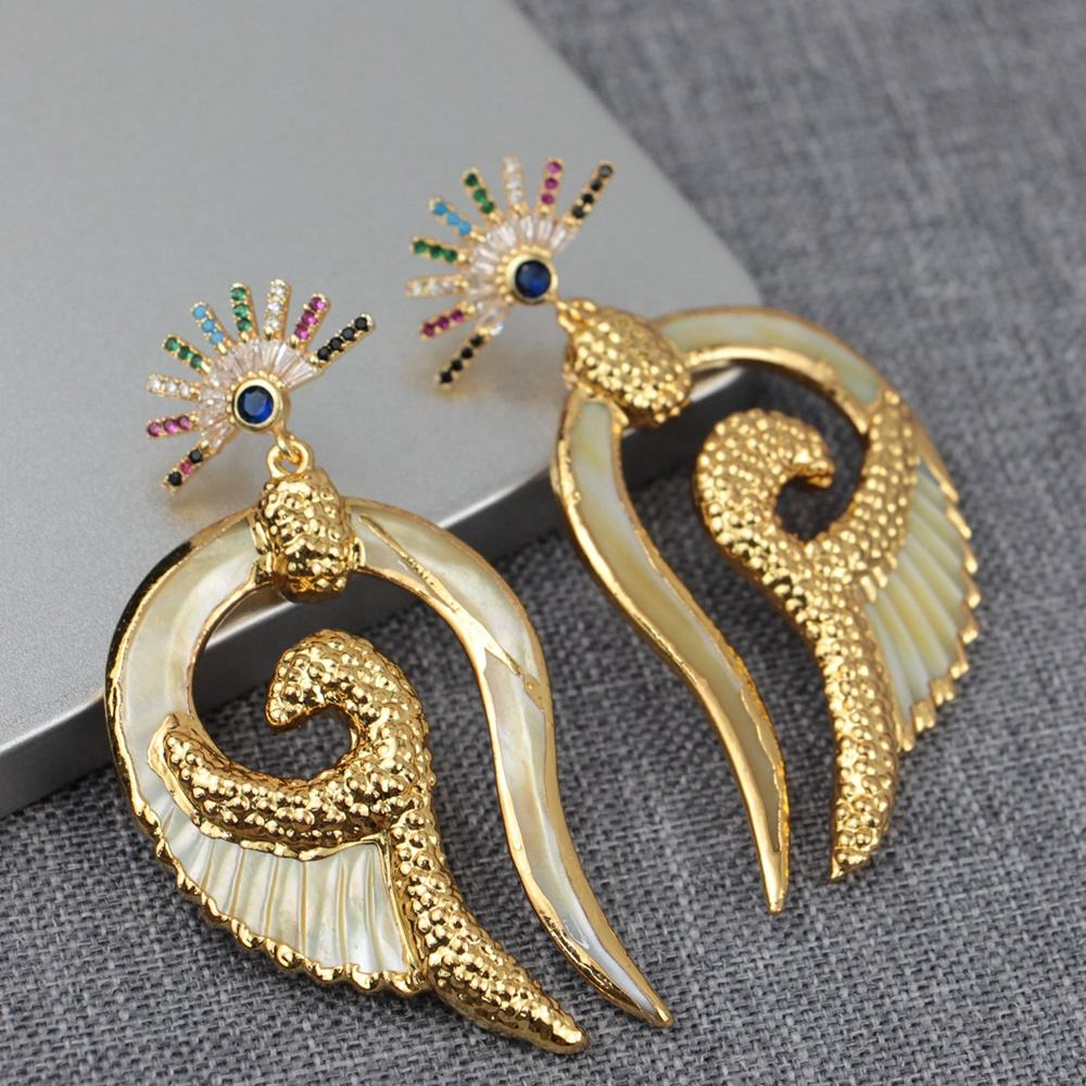 BD-S328 New Design Fashion Gold Electroplated CZ Earrings, Shell Crystal Zircon Angel Wing Earrings for Women Jewelry