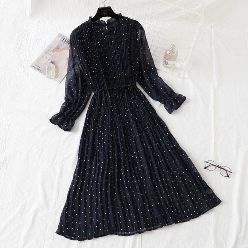 Elegant Polka Dot Women Dress Female Casual Flare Sleeve Office Chiffon Dot Print Dresses A-line Vintage Sweet Clothing