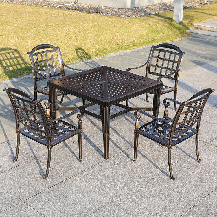 Garden hotel restaurant dining used 4 seater waterproof patio solid cast aluminum tea table and chair