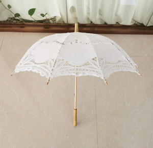 Embroidered Lace Wooden handle Umbrella for Lady