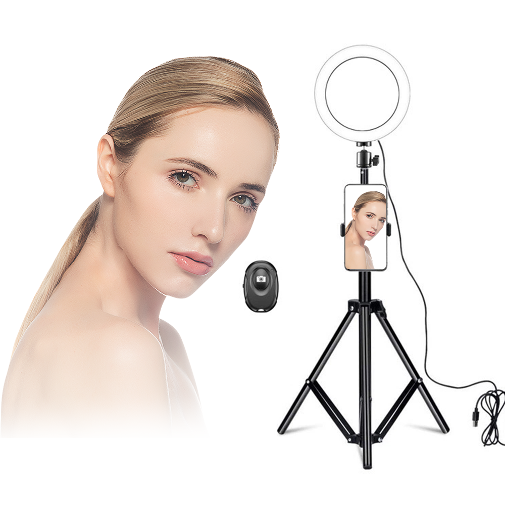 Graphic Customization [ Led Ring Light ] Led Light Rings Leadingplus 8 Inch USB Connect Makeup Selfie Live Led Circle Ring Light With Tripod Stand Phone Holder