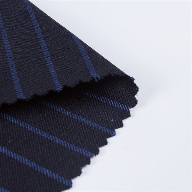 high quality poly viscose 65/35 stretch composition stripe design textiles fabrics for suits man