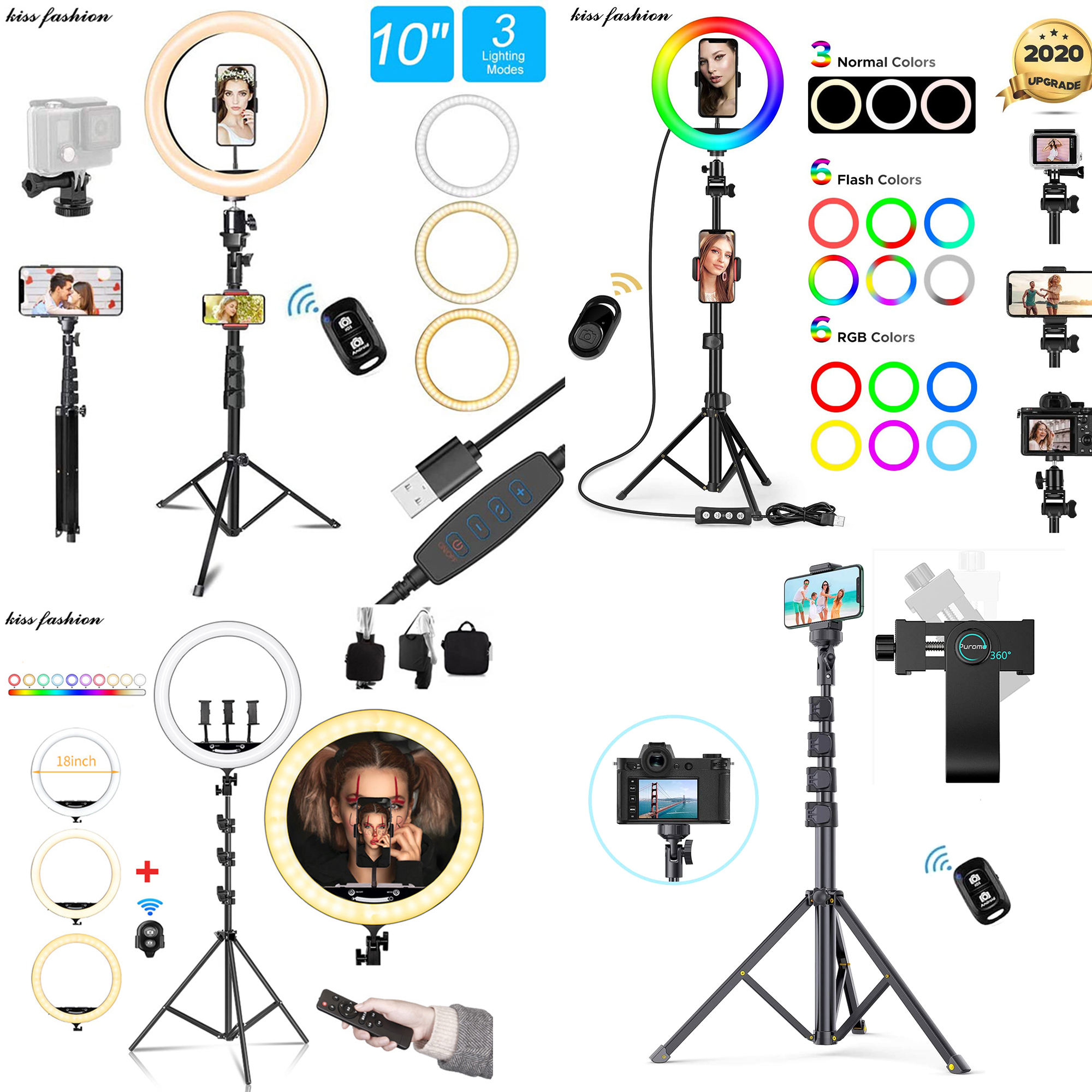10 inch 26cm Dimmable LED Ring Light with tripod Stand Phone Holder for Selfie Live Streaming/Makeup/YouTube Videos