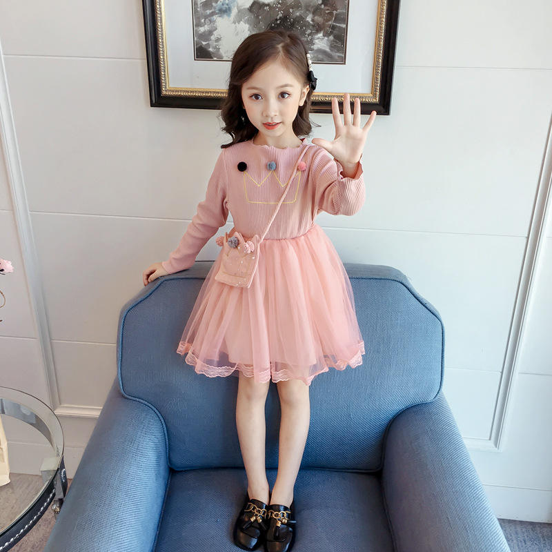 Hot Sale Custom Design Knitted Patchwork Top Long Sleeve Kids Lace Dresses For Girls Princess