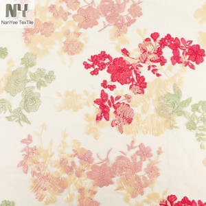 Nanyee Textile Novelty Flower Design Custom Embroidery Fabric