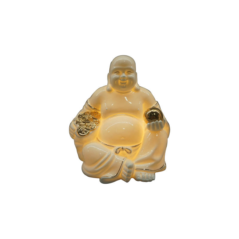 small ceramic laughing buddha statue for sale with led light