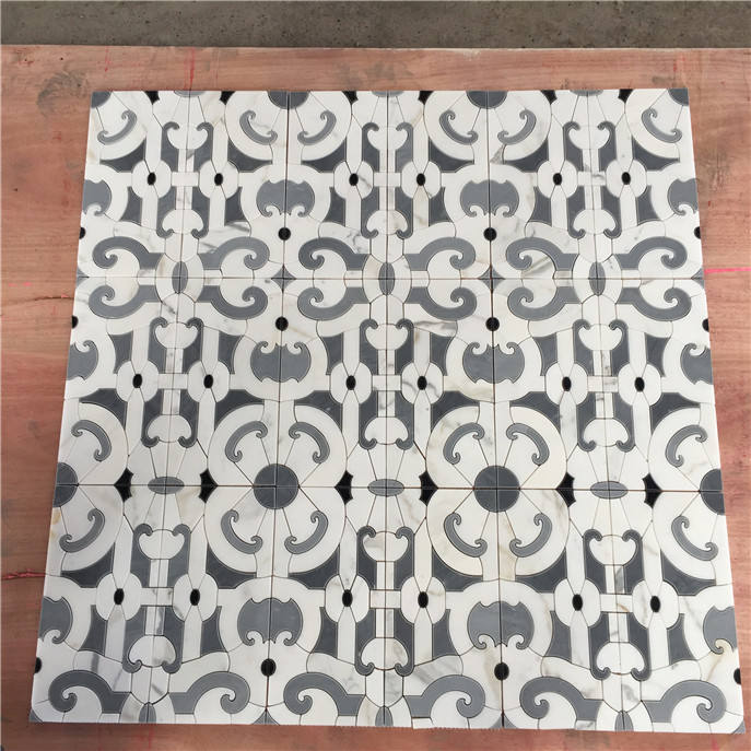 China New Bathroom Accessory Waterjet Glass Mosaic Tile