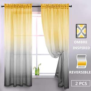 Factory Wholesale Gradient turkish Voile Window Sheer Panels Drapes Curtains For Living Room colorful voile curtain