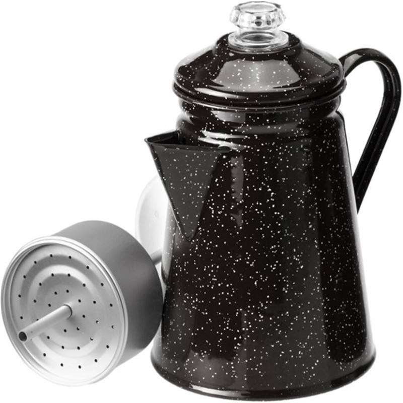 2.1L Outdoors black speckled color Enamelware 8-Cup enamel Percolator coffee pot with glass grip