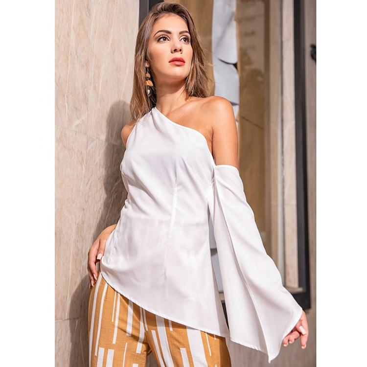 Women spring/summer sexy casual office wear flare one long sleeve off shoulder blouse shirt # 18737