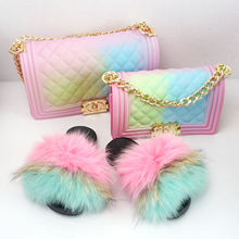 2020 Hotsale colorful fur slides and jelly purses handbag sets for women