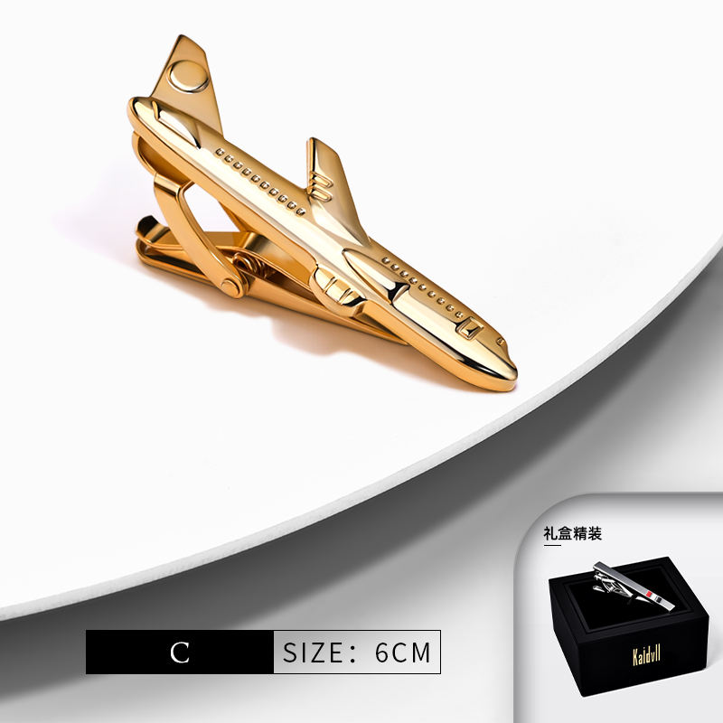 High Quality Copper Alloy Gold Tie Bar Men's Wedding Custom Logo Airplane Tie Clip for Men