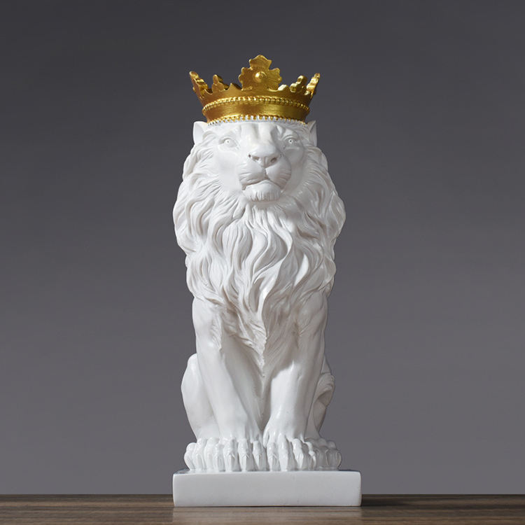 Wholesale Lion With Crown House Decorations Pieces Arslan Heykeli White Hot Sale Resin Lion Statue