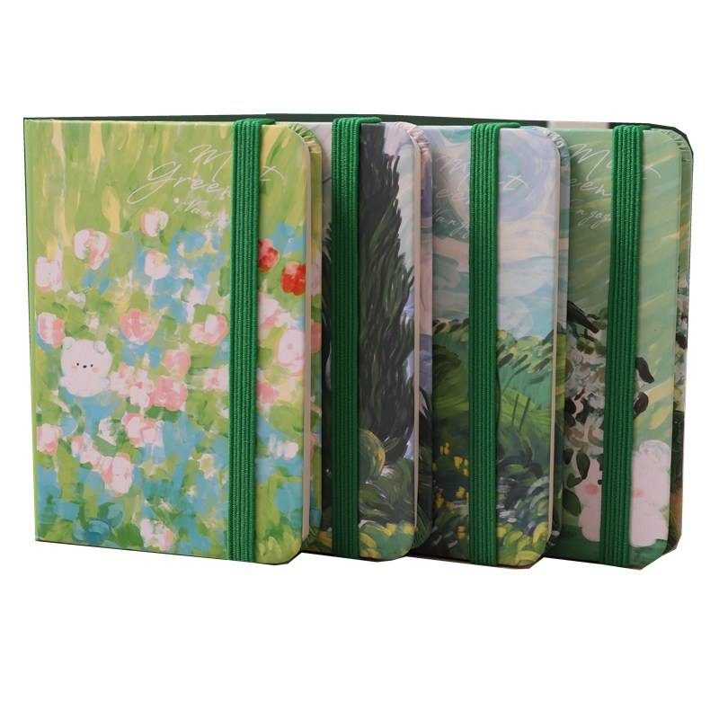 A7 157g artpaper elastic closure hardcover book with display box journals custom printed sale stationery notebook